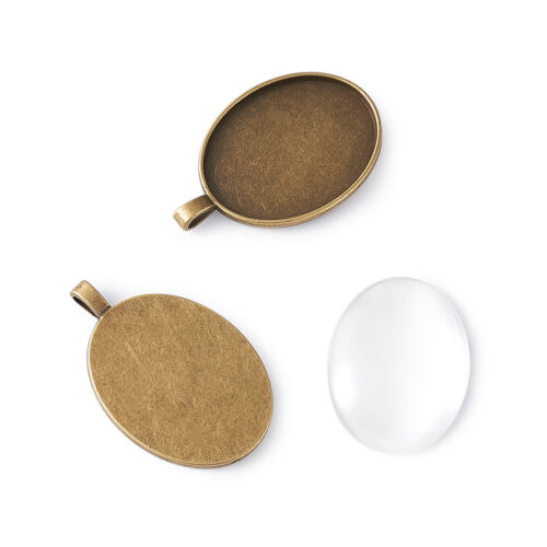 5sets 40x30mm Oval Glass Cabochon and Antique Bronze Alloy Pendant DIY Settings