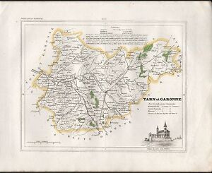 1841 ANTIQUE MAP MONIN FRANCE HCOL DEPARTMENTS TARN ET GARONNE