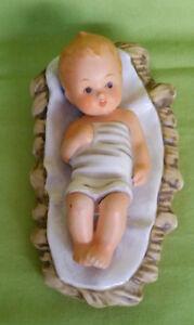 Statuina-di-Gesu-039-Bambino-in-culla-ceramica-West-Germany-vintage-cm-14-5x8x6