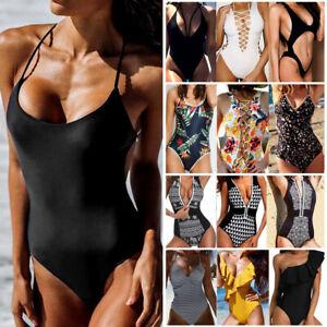 7f9a3dca79 UK Women HOT One Piece Bikini Monokini Swimwear Swimsuit Beach ...