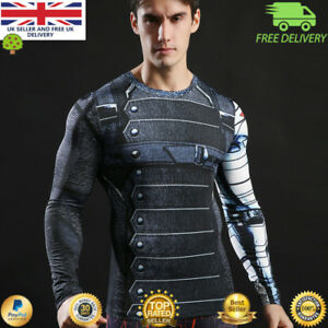 Mens-long-sleeve-compression-gym-superhero-avengers-marvel-muscle-Winter-soldier
