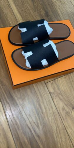 HERMES MENS SHOES BLACK LEATHER IZMIR SANDALS THONGS UK 7 41