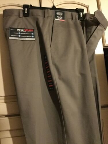 Roundtree /& Yorke Travel Smart Ultimate Comfort Stretch Flat Front Dress Pants
