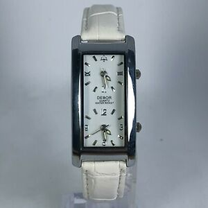 Debor-Womens-White-Band-Dual-Time-Dial-Quartz-Analog-Wristwatch