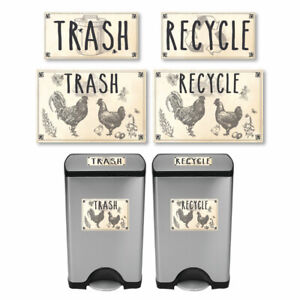 Vintage-Farmhouse-Styled-Country-Chickens-Trash-and-Recycle-Label-Stickers