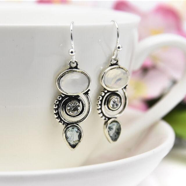 New Women Sea Blue 925 Silver Earrings Vintage Topaz Dangle Ear Drop Hook