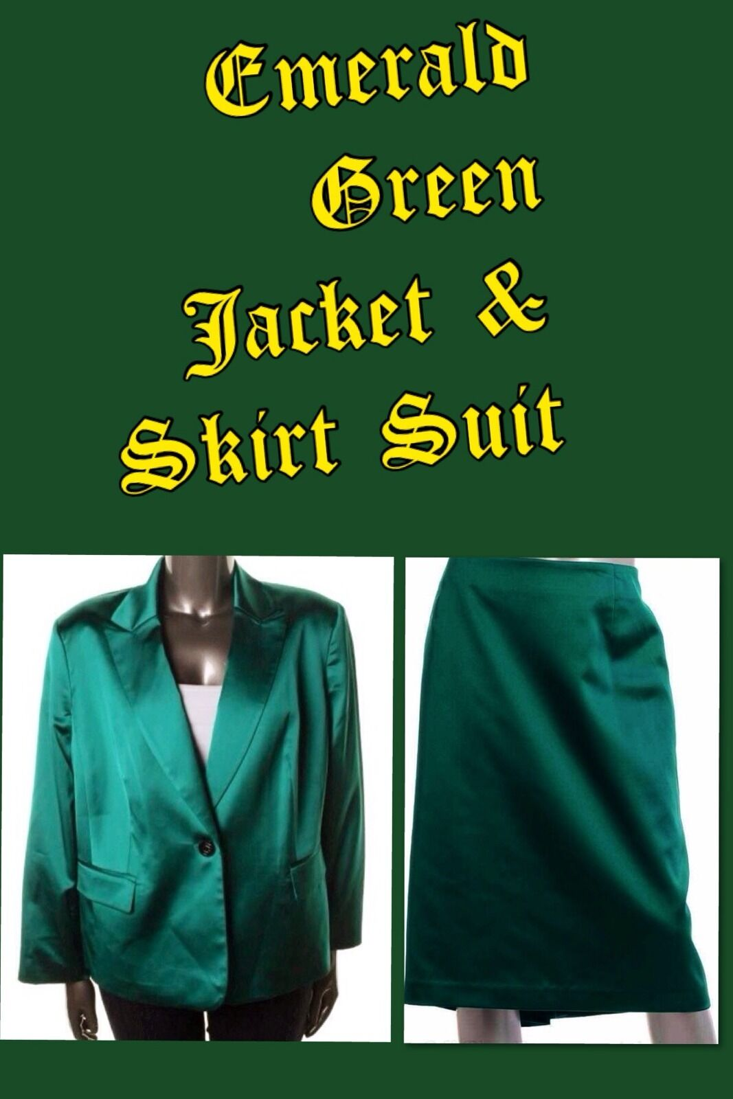 Nipon Boutique NEW Civet Poised Emerald Satin Blazer & Skirt Suit 22W Value