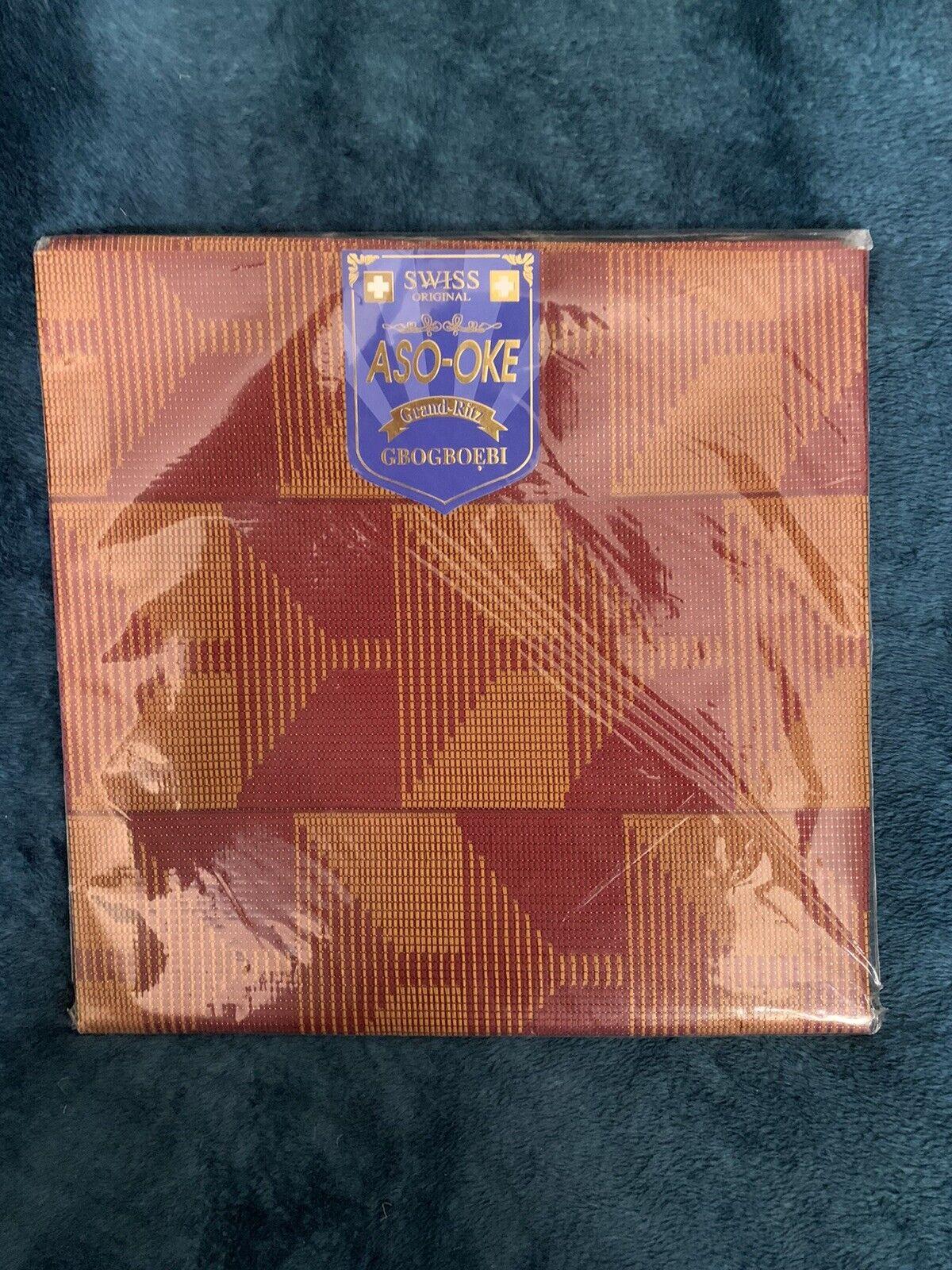 "Aso Oke Shawl 36"" X 72"" Gold Copper Metallic Geometric Pattern Switzerland"