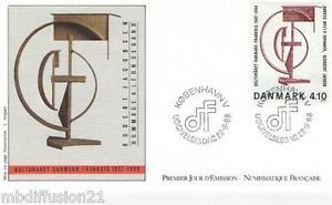 1988-ENVELOPPE-FDC-1-JOUR-ROBERT-JACOBSEN-TIMBRE-Yt-931-DANEMARK