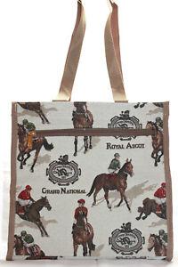Rennpferd-Pferderennen-Reiter-Jockey-Gobelin-City-Shopper-Einkaufstasche-Beutel