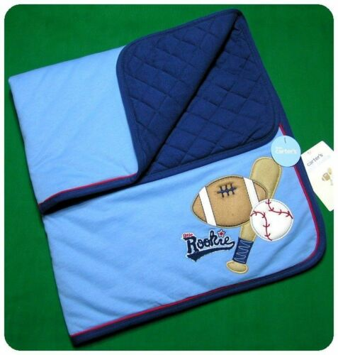 New~Little Rookie Blanket Quilt~BABY BOYS~BASEBALL FOOTBALL SPORTS~BLUE~CARTERS