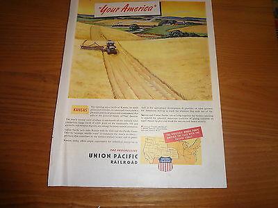 """1945 Union Pacific Railroad Vintage Magazine Ad """"Your America"""""""