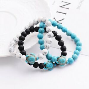 Men-Charm-Natural-Stone-Turquoise-Turtle-Stone-Beaded-Lucky-Elastic-Bracelets