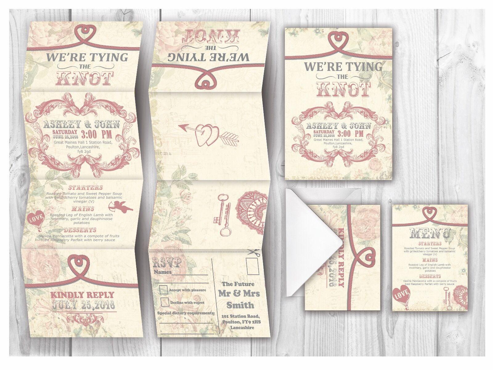 Personalised HANDMADE Romatic Wedding Day Invites   Evening Invitation +Envelope