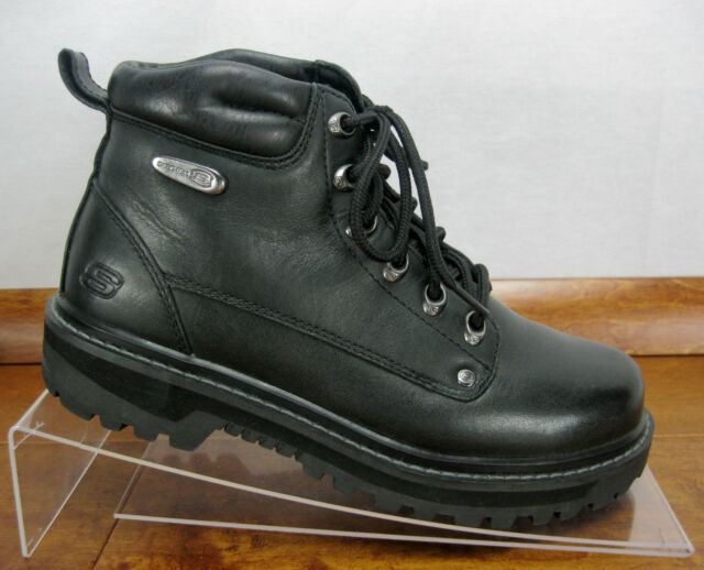 45fbfed17ffe9 Skechers Mariner Pilot 4473 Black Leather Utility Mens BOOTS Size 7 ...