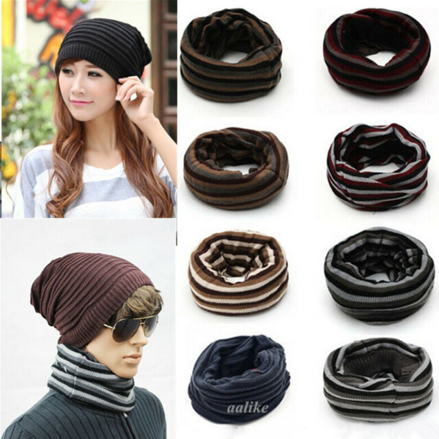 Unisex Reversible Knit Winter Hat Skull Ski Crochet Beanie Neck Warmer Scarf Cap