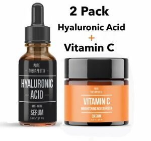 2-Pack-Hyaluronic-Acid-Anti-Aging-Serum-Vitamin-C-Brightening-Moisturizing-Cream