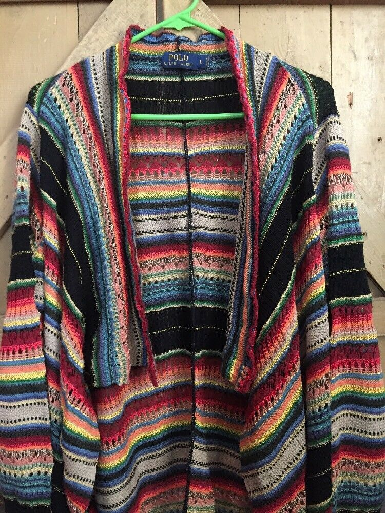 Ralph Lauren Polo Shawl Cardigan Multi-Farbe Sweater Woman's Large