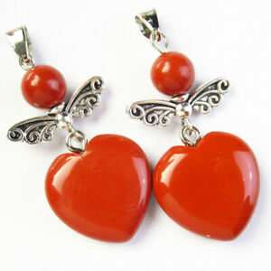 2Pcs Natural Red Jasper Heart Ball Tibetan silver Wing Pendant Bead HSH6780