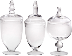 Glassware Clear Glass Apothecary Jars - Set of 3 Wedding Candy Buffet Container