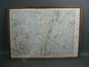 Vintage-1970-Lake-Champlain-Valley-Topographic-Reflief-Map-Vermont-New-York-NR