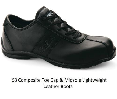 Da Uomo in pelle S3 IMPERMEABILE LAVORO Composite Toe Cap sicurezza Scarpe da Ginnastica Stivali Scarpe SZ