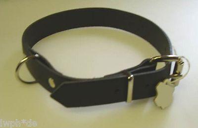 1 Robustes Hundehalsband schwarz Echt Leder 3,0 x 75,0 cm für Ihren Liebling