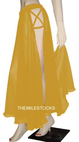 TMS 2 Side Slit Panel Full Circle Skirt Belly Dance Tribal Boho Red 25 Color