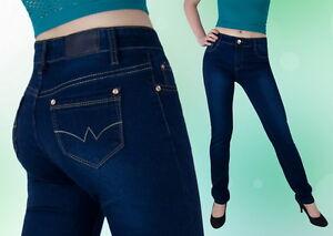 Damen Jeans Hose Gerades Bein Normalsitzend Blau 36 38