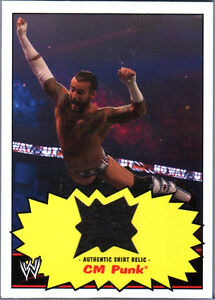 WWE-CM-Punk-2012-Topps-Heritage-Authentic-Event-Worn-Shirt-Relic-Card-Black