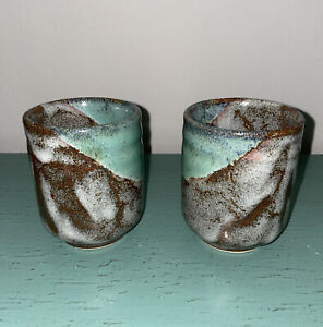 2 Pottery Clay Drip Glazed Blue Brown Pearl Coffee Tea Mug Cup Tumbler Handmade