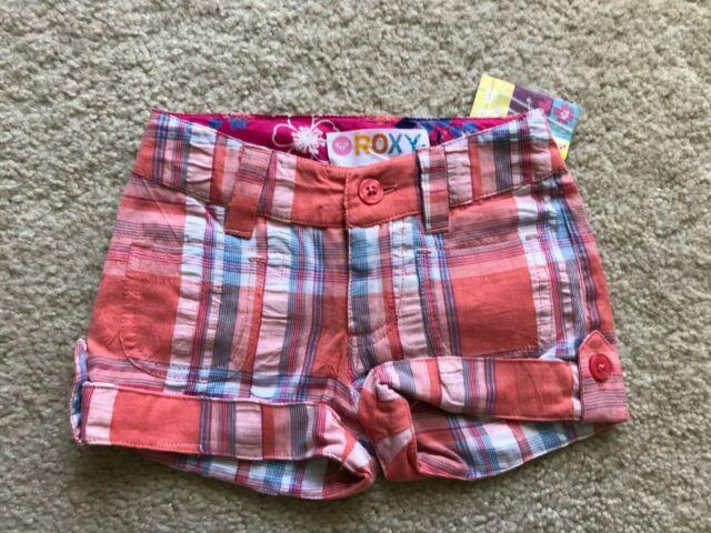 NWT NEW Roxy cute plaid shorts 12 mo old baby girl 100% ...