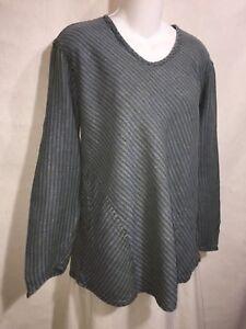FLAX-Jeanne-Engelhart-Blue-Green-Seersucker-Linen-Shapely-Bias-Tunic-Top-Shirt-S
