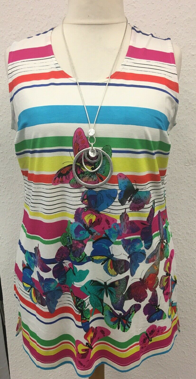 Sempre Piu Top Shirt Tunika Damen bunt Schmetterlinge gestreift grosse Grössen