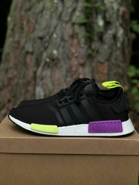 Adidas Originals  NMD_R1 Boost Running Shoes Men's Size 13 Black/Shock Purple