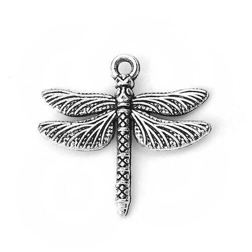 10 Dragonfly encanto colgante de Plata Antigua Artesanía Hacer Joyas 18mm X 18mm