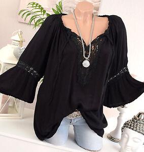 carmen bluse tunika vintage h kel spitze bluse schwarz oversize hippie 36 38 40 ebay. Black Bedroom Furniture Sets. Home Design Ideas