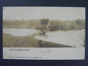 Okauchee Wisconsin WI Lake Real Photo Postcard RPPC 1907 Type 2/1 Doane Cancel