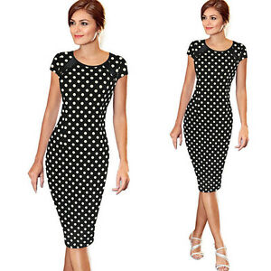 Womens-Short-Sleeve-Evening-Party-Bodycon-Cocktail-Business-Formal-Pencil-Dress
