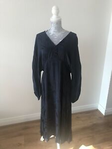 BNWT-Marks-amp-Spencer-Jacquard-Fit-And-Flare-Midi-Dress-Navy-Regular-Size-14