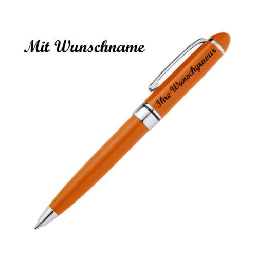orange 10 Minikugelschreiber mit Namensgravur aus Metall Farbe