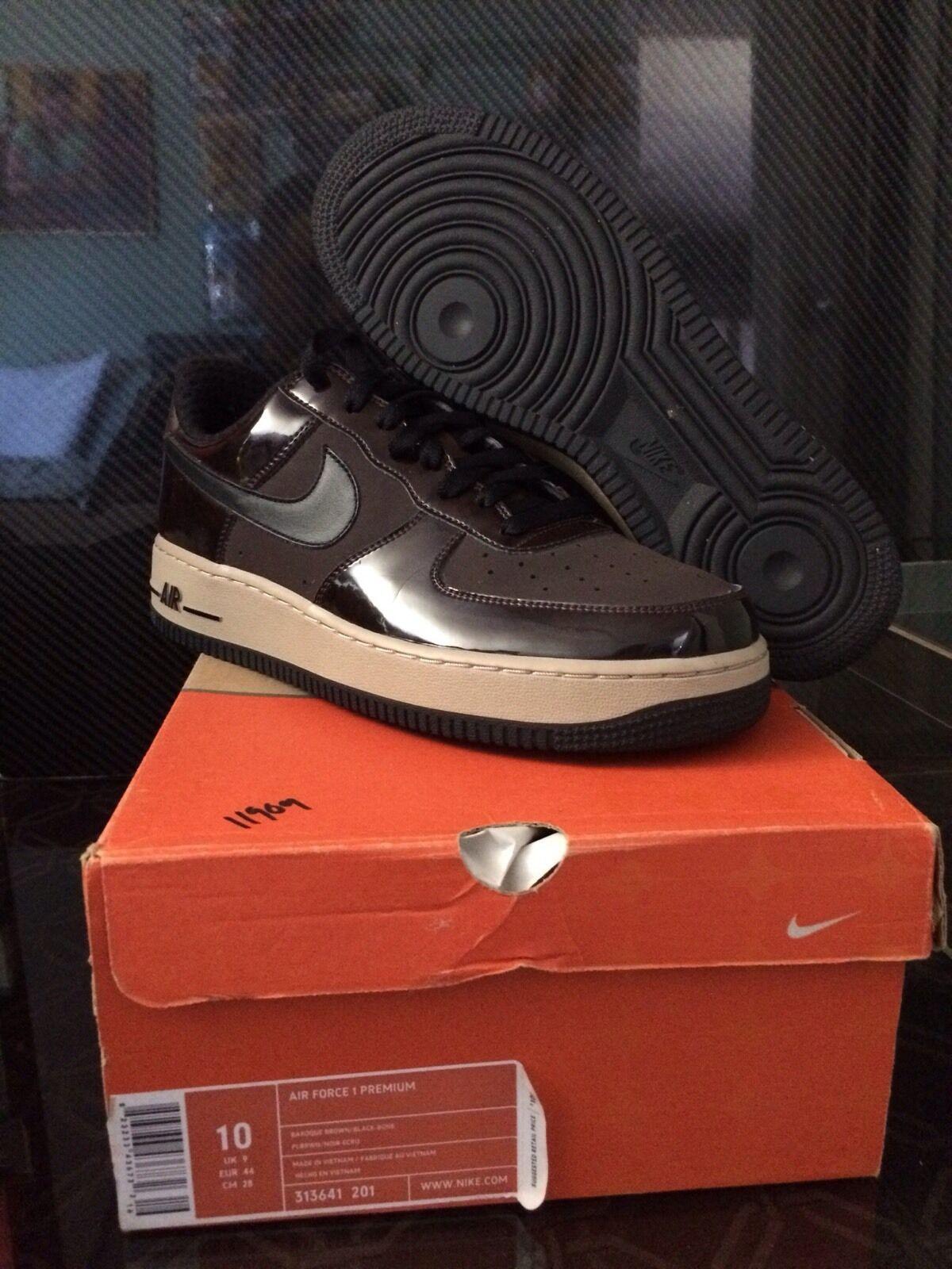 Men's Nike Air Force 1 Premium Woodgrain (Baroque Brown Black-Bone); Size 10; DS