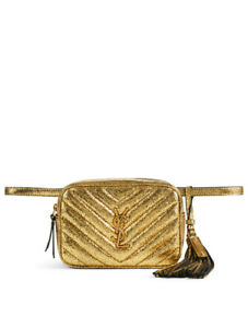 New Authentic Ysl Yves Saint Laurent Cracked Crinkled Gold