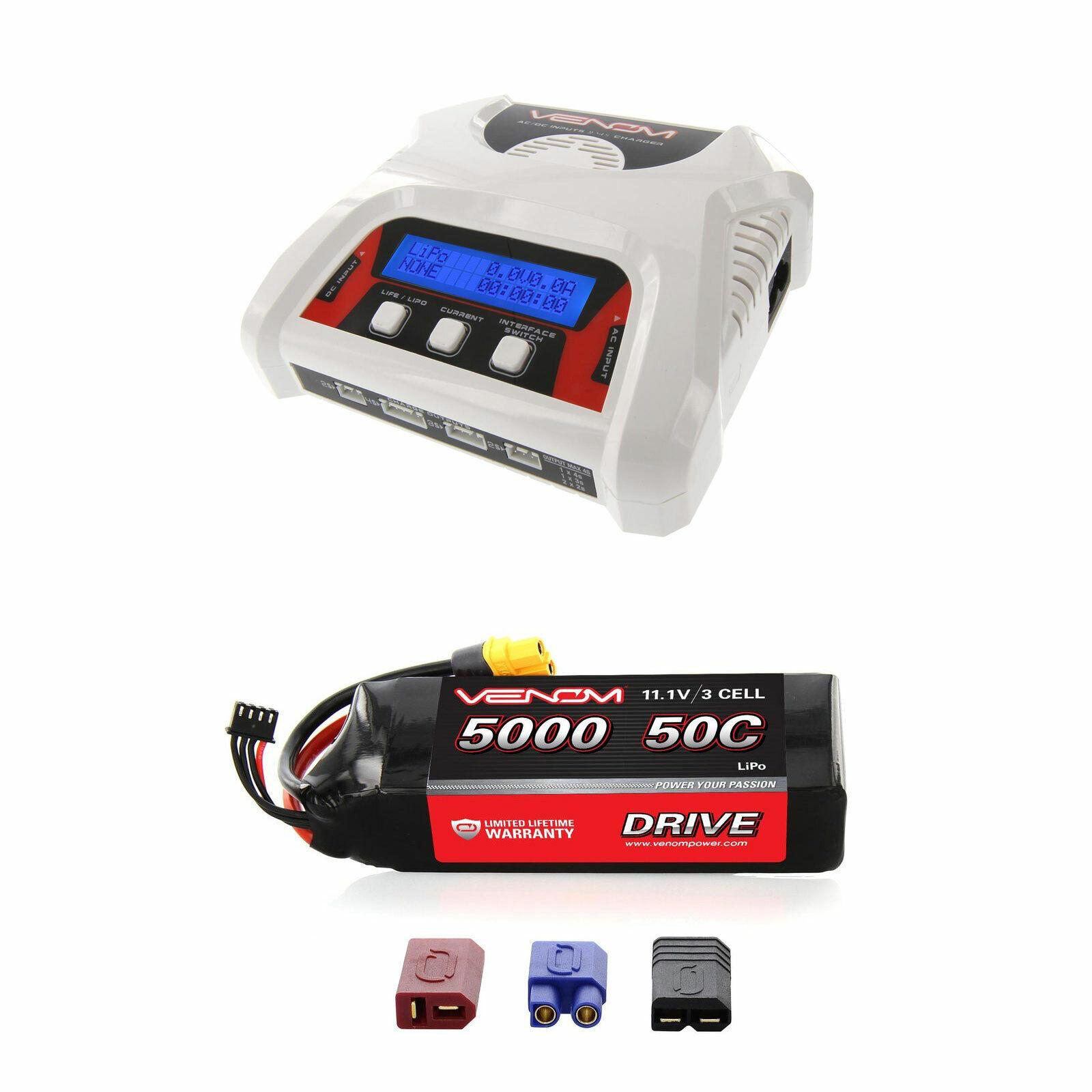 Venom 50C 3S 5000mAh 11.1V Batería LiPo y 2-4 Celular Equilibrio Cargador Combo