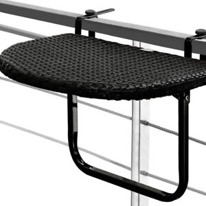 balcony table hanging foldable poly rattan black patio terrace outdoor folding ebay