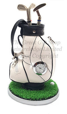 DESKTOP GOLF BAG PEN HOLDER CLOCK SET Fantastic Value Golfers Gift ENGRAVED FREE