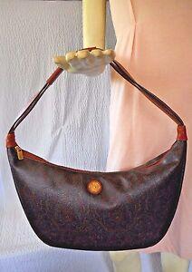 Image Is Loading Pierre Balmain Paisley Monogram Leather Hobo Handbag