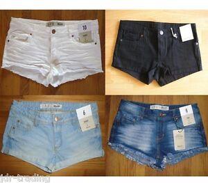 Ladies-Denim-Shorts-Hotpants-Festival-Primark-Blue-Denim-Black-UK-6-20