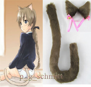 Coffee Anime Cosplay Party Long Fur Neko Cat Ears Cat Tail Clip