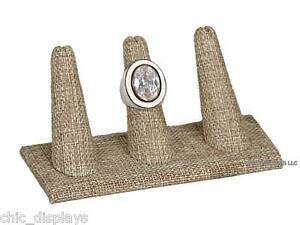 "MODERN BURLAP 3 FINGER RING DISPLAY STAND SHOWCASE JEWELRY RING HOLDER 2""Tall"